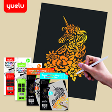 YUELU Magic Color Rainbow Scratch Paper Card Set with Graffiti Stencil for Drawing Pen DIY Painting Toy Kids