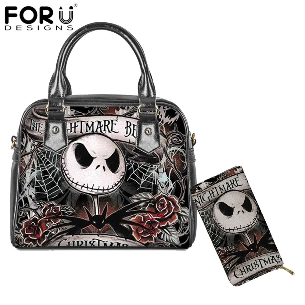 FORUDESIGNS Jack Skellington Luxury Handbags Women Bags Designer Nightmare Before Christmas Print PU Ladies Purse Shoulder Bags