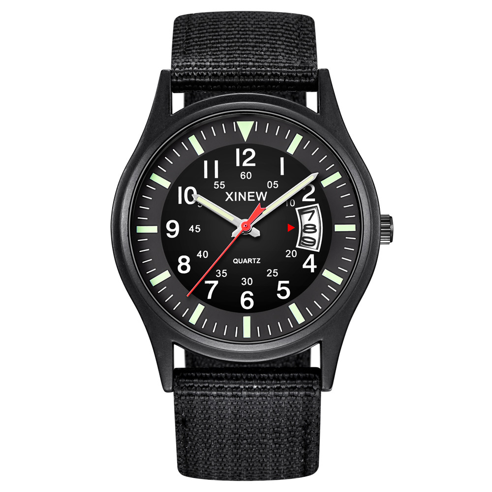 New Luxury Watches Round Dial Nylon Strap Band Men Boy Military Date Quartz Wrist Watch Gift Relogio Masculino часы мужские