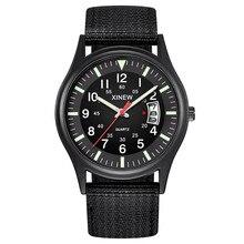 New Luxury Watches Round Dial Nylon Strap Band Men Boy Military Date Quartz