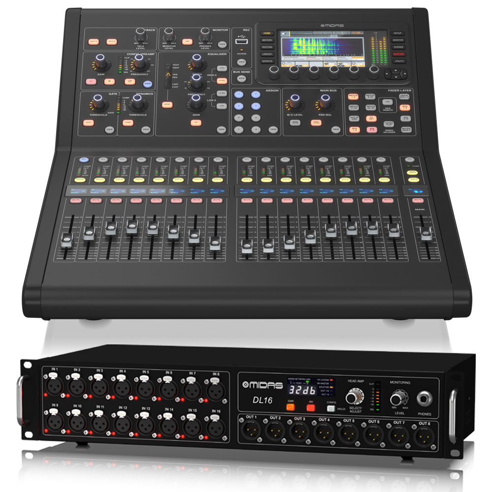 Digital Audio Sound Mixing With Midas M32R Mixer And DL16 Stage Box