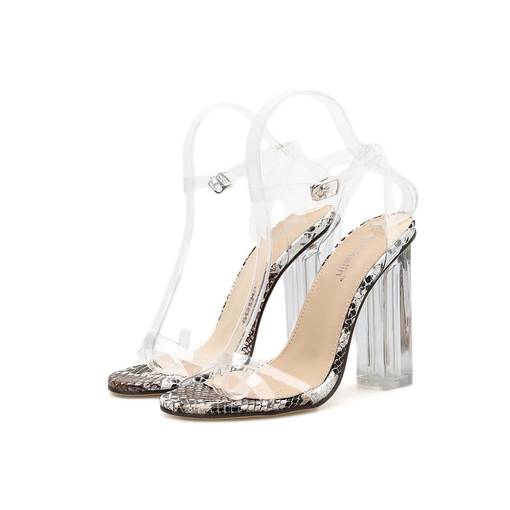 Купить с кэшбэком PVC Snake Pattern Women's Sandals Sexy Crystal Transparent Square High Heels Buckle Party Casual Women Shoes Sandalias mujer 42