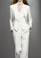 Elegant White 3 Piece Sets Work Pant Suits OL Single Breasted Women Blazer Jacket & Zipper Trousers & Vest Suit For Women Set