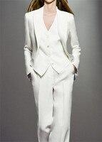 White 3 Piece Sets Work Pant Suits OL Single Breasted Women Blazer Jacket & Zipper Trousers & Vest Suit For Women Set