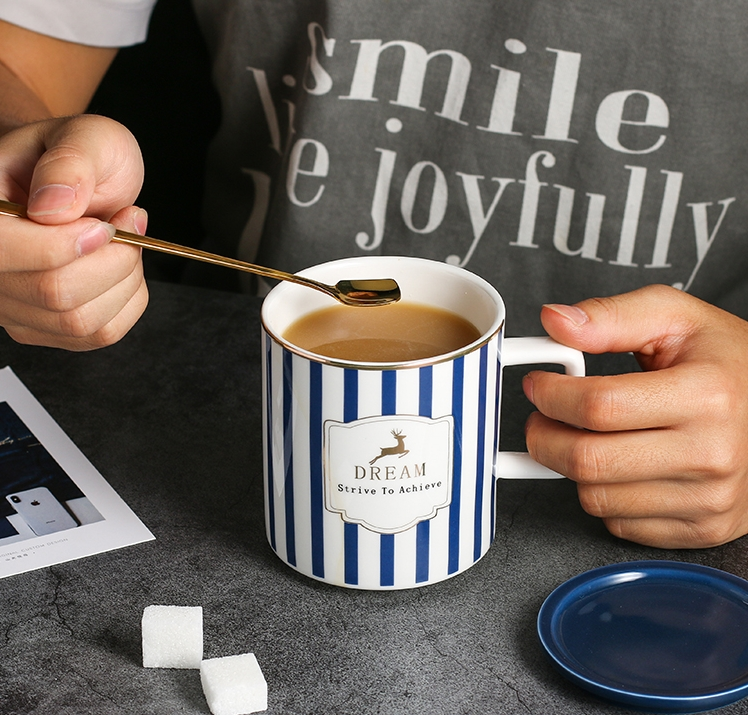 quot Blue Stripes quot Nordic Ceramic Mug with Lid Spoon Tea Milk Coffee Cup Home Office Mugcup Drinkware Waterware Gift in Mugs from Home amp Garden