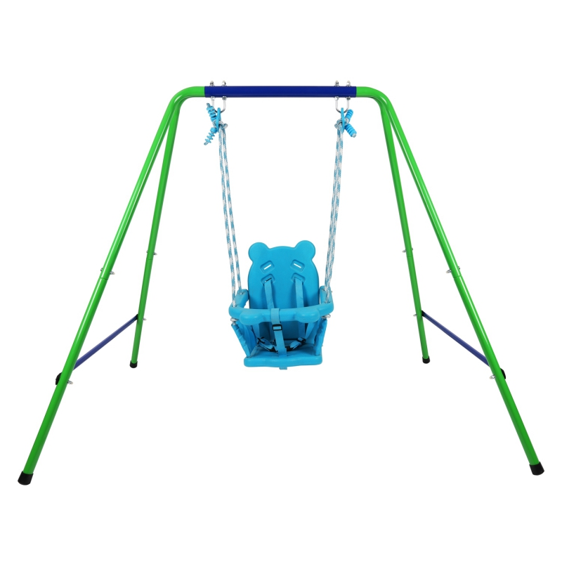 Folding Toddler Blue Secure Swing Set With Safety Seat For Baby/Chirldren's Gift