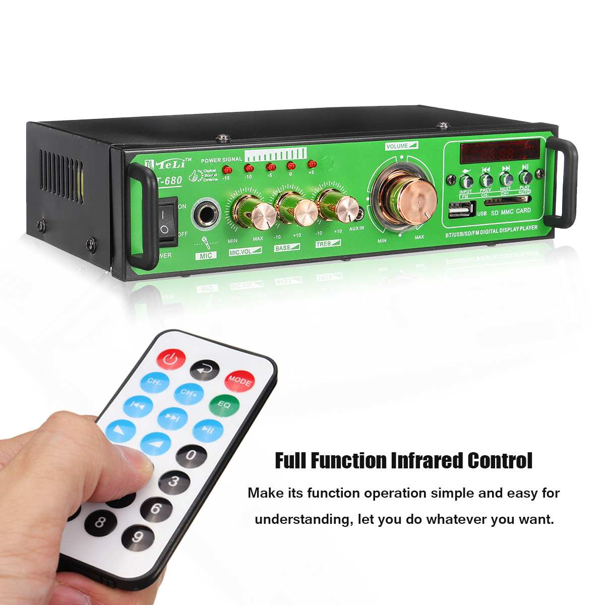 KROAK Home/Car Amplifier Speaker Remote Control Stereo bluetooth Hi Fi 2.0 Channel Auto Audio 12V Full Function Infrared Control