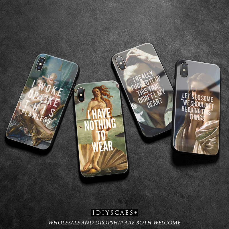 Art old Paintings Quotes Coque Glass Soft Silicone Phone Case cover shell For iPhone 6 6s