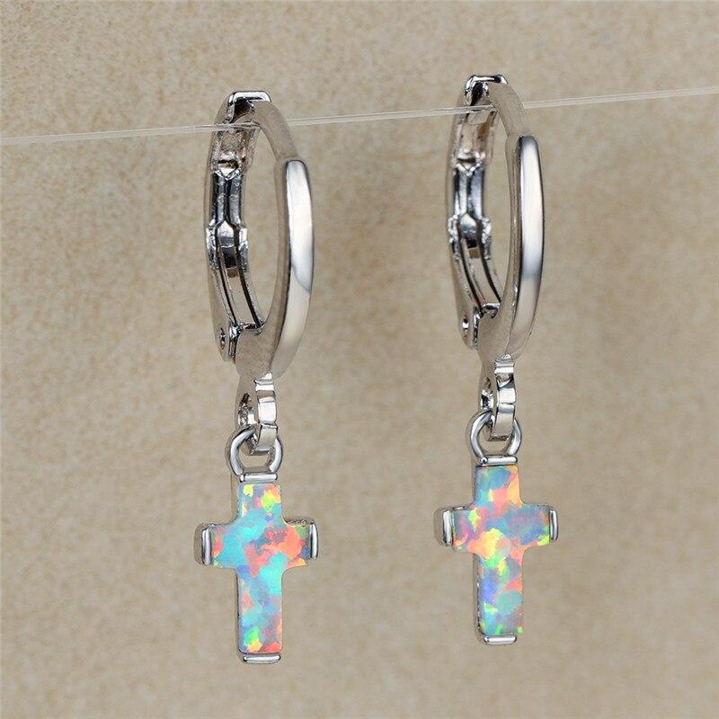 Simple Female White Opal Stone Earrings Charm Silver Color Small Hoop Earrings Vintage Bridal Cross Wedding Earrings For Women