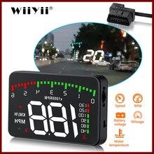 GEYIREN indicador de velocidad para coche, dispositivo electrónico HUD OBD2 con control de velocidad, velocidad de RPM, temperatura del agua, obd2