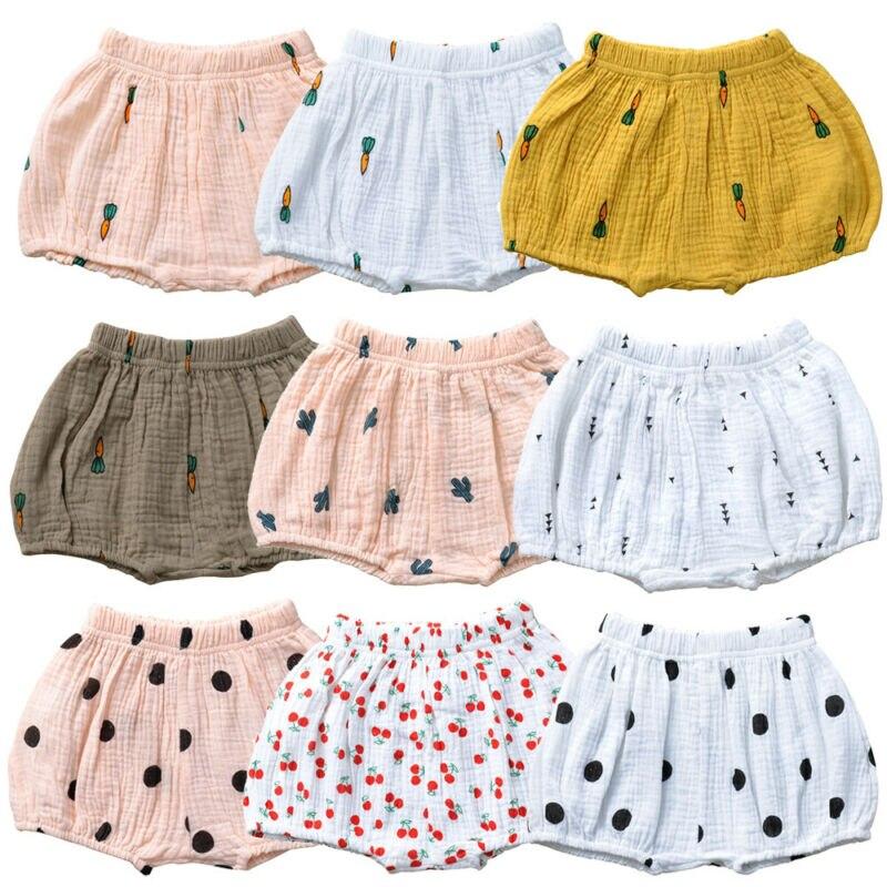 Cute Summer Newborn Baby Boy Girl Kids Shorts Bottoms Cartoon Print Elastic Waist PP Linen Bloomer High Waist Panties 0-3T