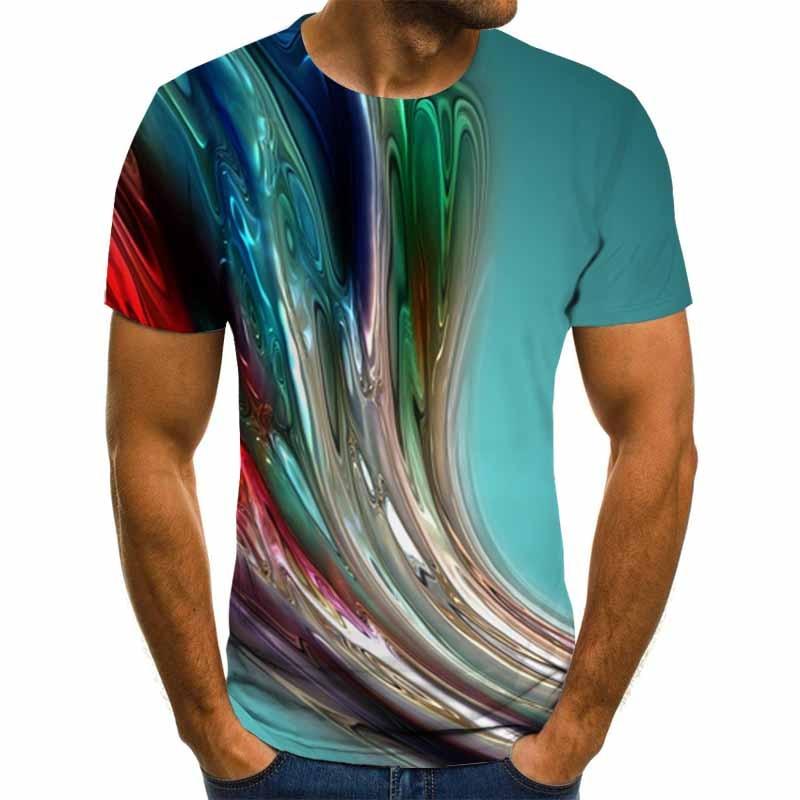 Camiseta con estampado 3D para hombre, camiseta informal de tendencia salvaje con cuello redondo, camiseta estampada en 3D, talla 6XL, novedad de verano 2020
