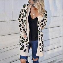 Women's cardigan 2020 new autumn and winter fashion knitwear fashion three color leopard sweater cardigan