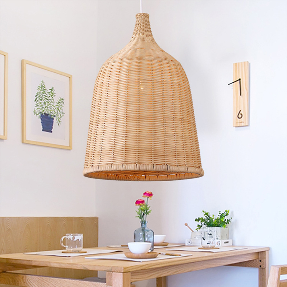 Hand Woven Rattan Pendant Light Japan Style Hanging Lamp E27 For Restaurant Bedroom Rustic Art Industrial Lamps Creative LED