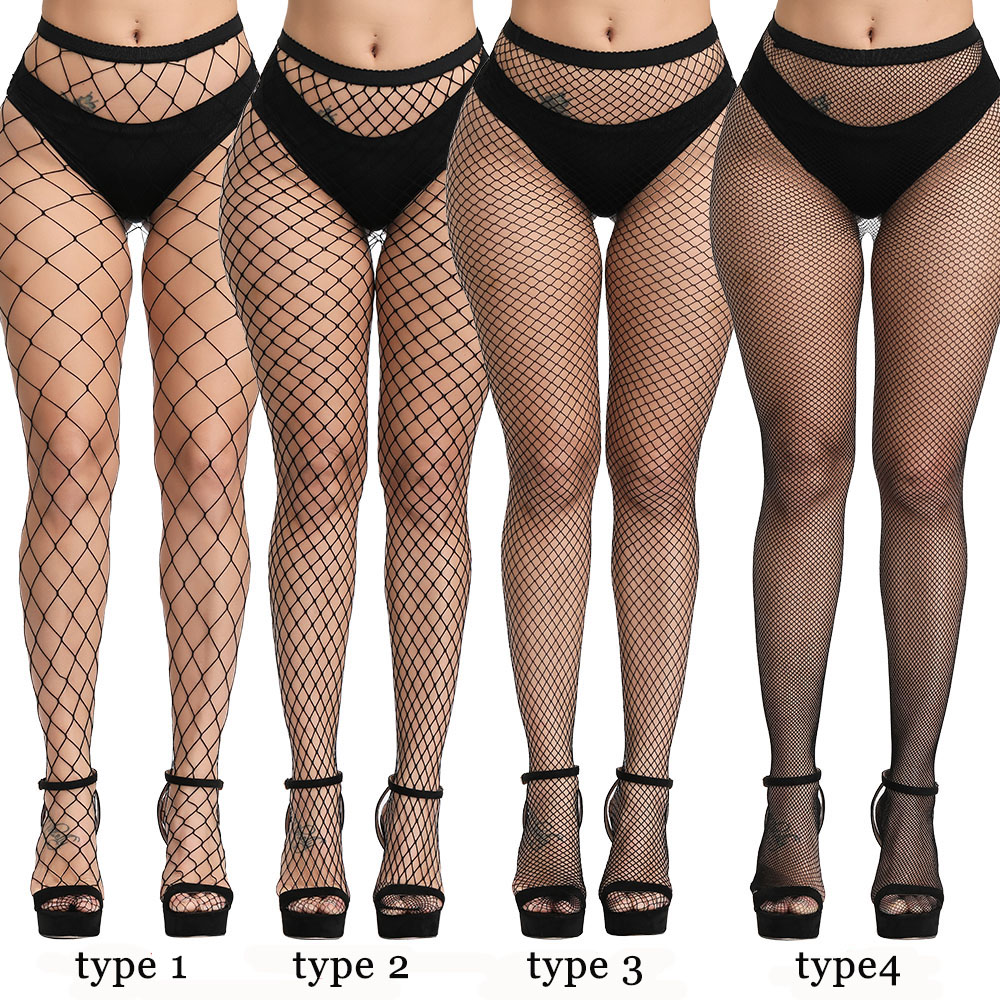 Women Sexy Lingerie Slim Fishnet Pantyhose Club Party Black Erotic Costumes Tights High Stockings Small/Middle/Big Mesh