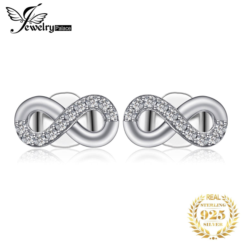 JewelryPalace Love Infinity CZ Stud Earrings 925 Sterling Silver Earrings For Women Girls Korean Earrings Fashion Jewelry 2019