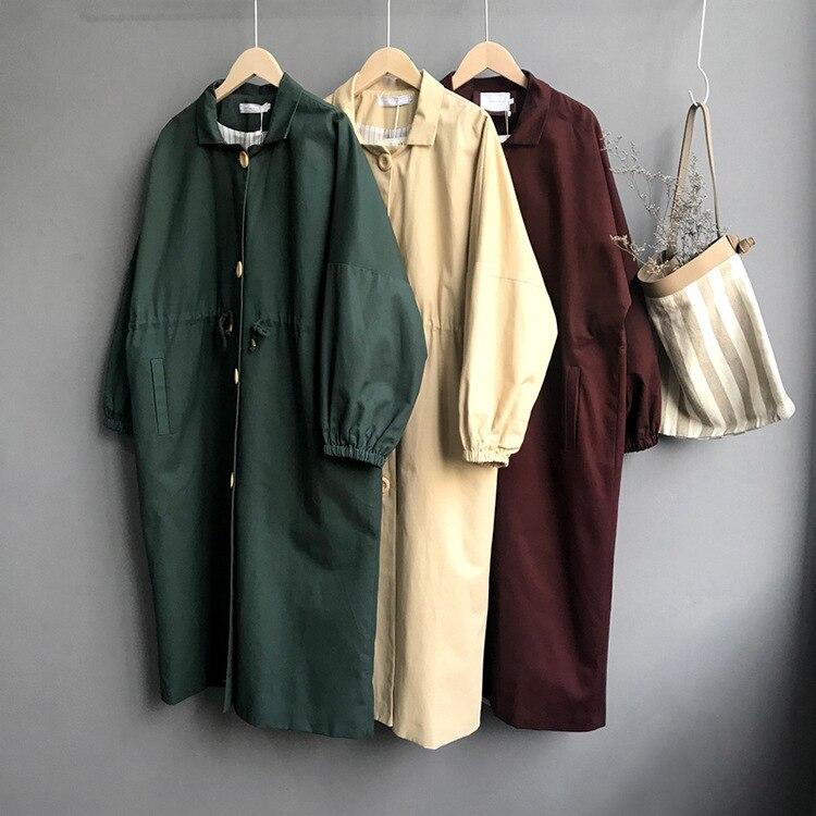 Green Lantern Sleeve Trench Coat Women Solid Color Long Overknee Windbreaker Women's Coat