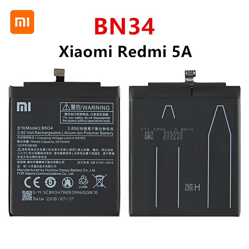 Xiao Mi 100% Orginal BN34 3000mAh Battery For Xiaomi Redmi 5A 5.0