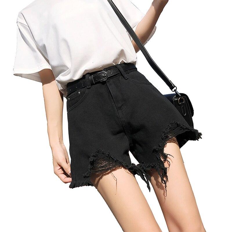 US $5.99 50% OFF 2020 High Waist Shorts Jeans Tassel Denim Shorts Women Short Jeans For Women Bottoms Female girls pants Without belt black