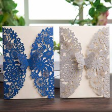 Wishmade образец 1 шт. цвета: золотистый, серебристый блеск и ярко-синего цвета на свадьбу с лазерной аппликацией Приглашения карты с бабочкой для вечерние свадебные сувениры