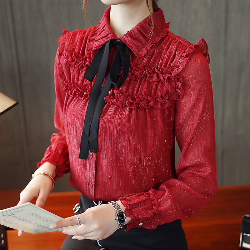 Korean Women Chiffon Blouses Shirt Elegant Woman Gold Silk Ruffles Plus Size Shirts Womens Tops and