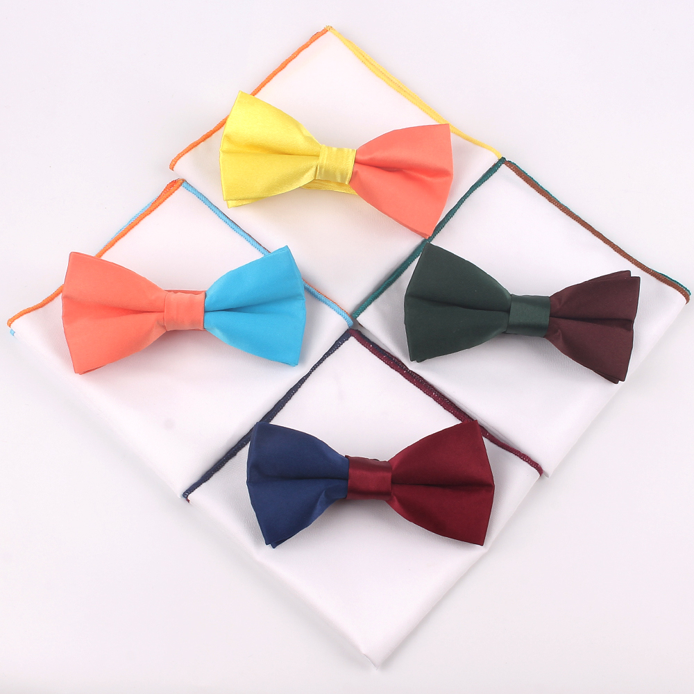 New Solid Bowtie And Pocket Square Set Patchwork Bow Tie Suits Hanky Sets For Men Adult Ties Handkerchiefs Towels Scarves