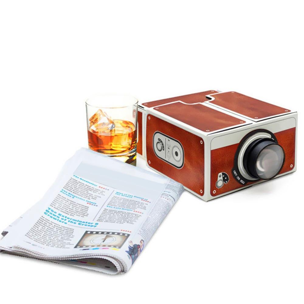 Mini projetor de telefone inteligente cinema portátil uso doméstico diy cartão projetor família entretenimento dispositivo projectivo-3