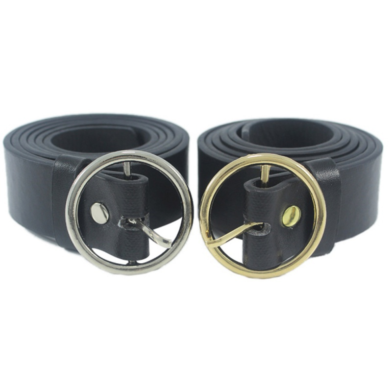 Black Pu Leather Punk Belt Men Women Casual Round Gold Silver Metal Circle Belts Hot Designer Brand Punk O Ring Leather Belts