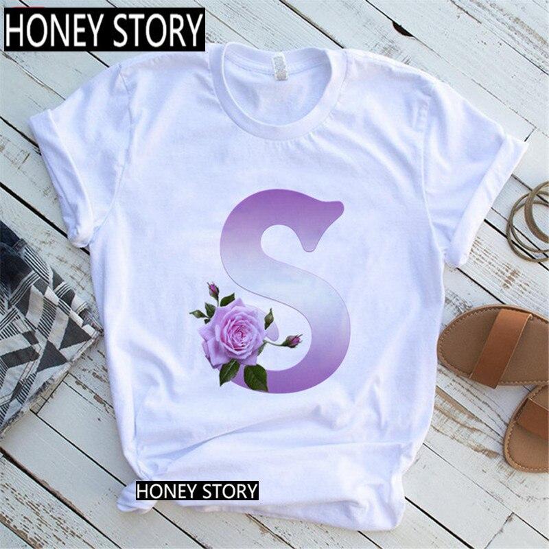 Custom Name Rose Letter Combination Printed Women's T-shirt Flower Purple 26 English Letter Font A B C D E Tshirt,Drop Ship