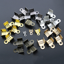 200pcs/lot Gold Silver Crimp Beads Cove Clasps Cord End Caps String Ribbon leather Clip Foldover For Necklace Connectors Z1128