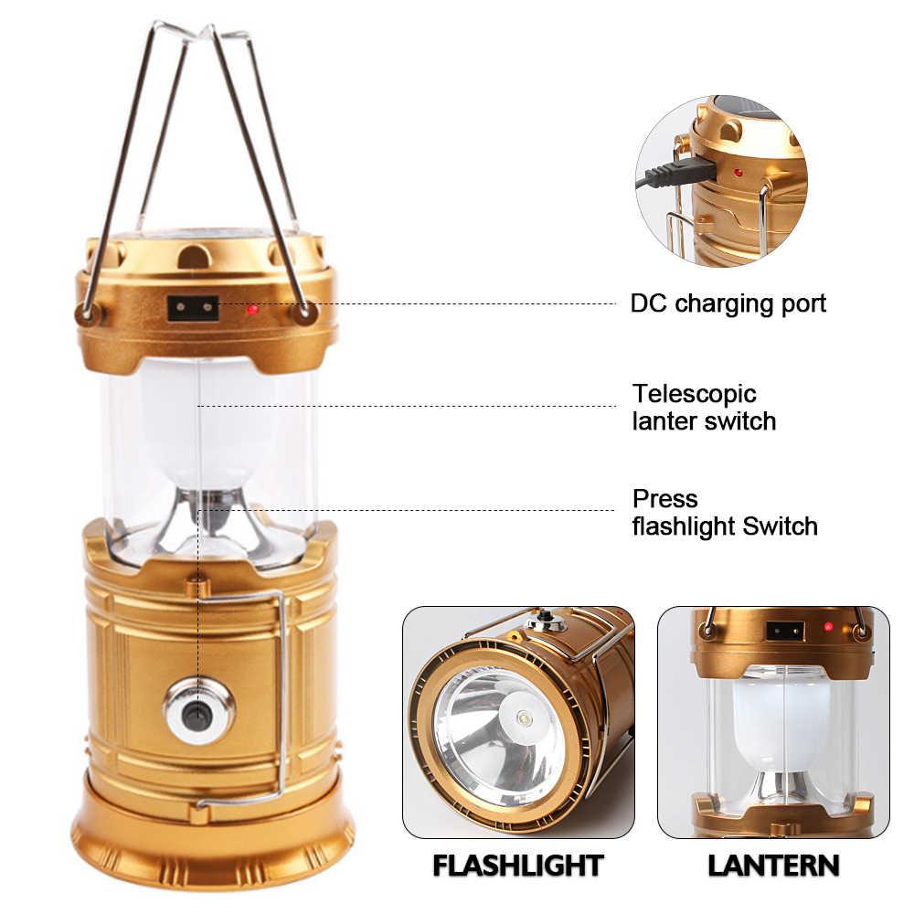 Đèn Cắm Trại USB Sạc Cắm Trại Ngoài Lều Đèn Lồng Đèn Năng Lượng Mặt Trời Ốp Đèn Đèn Pin Khẩn Cấp Đèn Pin