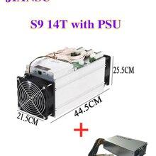 AntMiner S9 14T 14000Gh/s, pièce d'occasion, avec PSU S9, 16nm, 1372W BM1387, mineur, livraison sous 48 heures