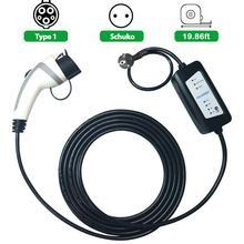 YKS-ESNES J1772 зарядки EVSE 5 м кабель 6A 10A 12A adustable schuko Разъем для ev Тип зарядного устройства 1