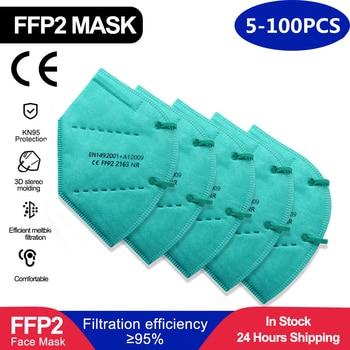 5-100 pieces FFP2 Mascarillas CE Mask KN95 Mask 5 Layers Face Mask KN95 Filter Respirator Mask Face cyan Adults KN95 filter 300pcs mascarilla ffp2 kn95 mouth mask 5 layers anti droplets protective kn95 face masks reusable filter ffp2mask ce