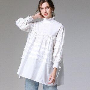 Винтажная бандажная рубашка LANMREM, большого размера, с длинным рукавом