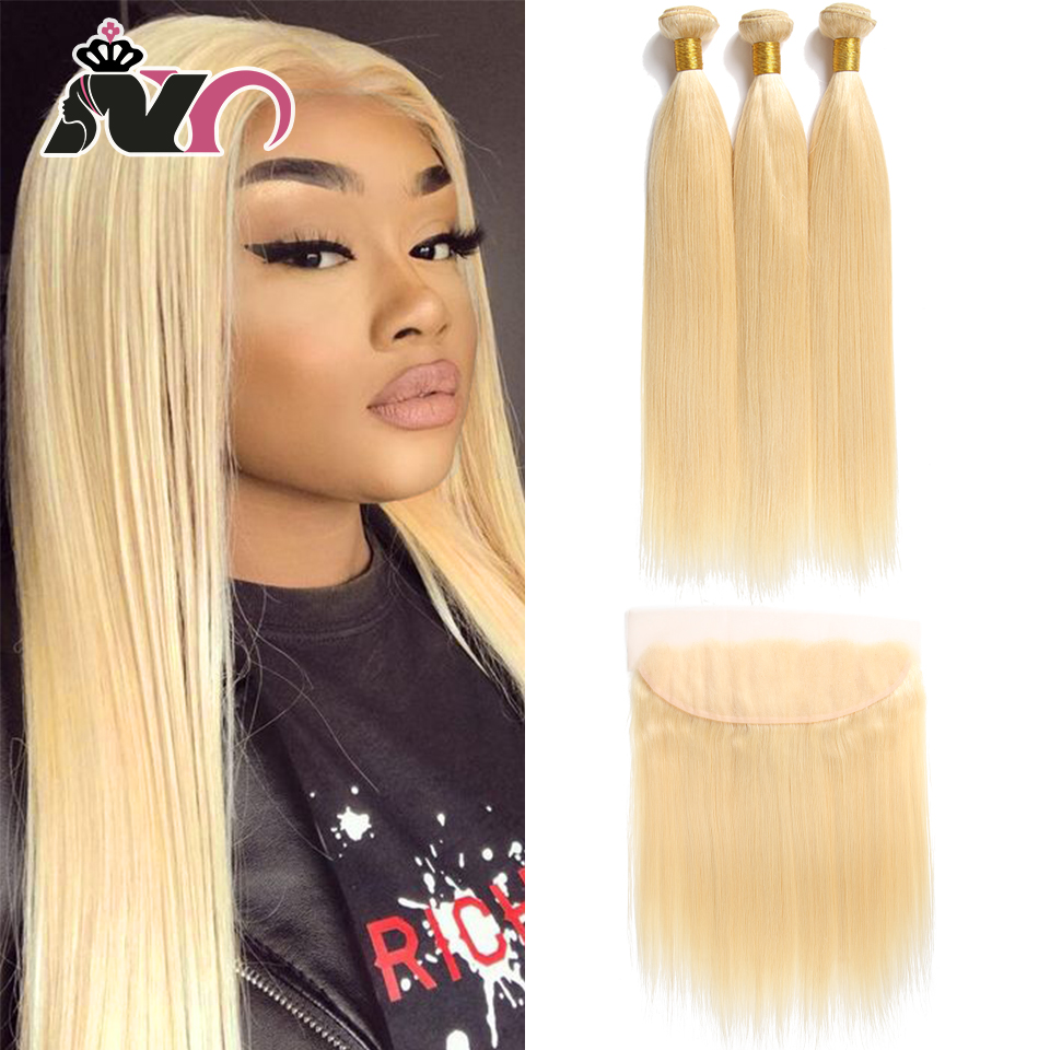 NY Hair 613 Blonde Straight Bundles with Closure Malaysia Weave 100% Human Hair 3 Bundles With 13*4 Lace Frontal Remy Hair