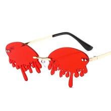Óculos de sol feminino engraçado, óculos de sol sem aro e com lentes vermelhas, monitor de palco uv400 2020