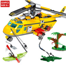 324Pcs City Rescue Team Jungle Helicopter Boat Building Blocks Sets LegoINGs Bricks Educational Toys for Children Christmas Gift