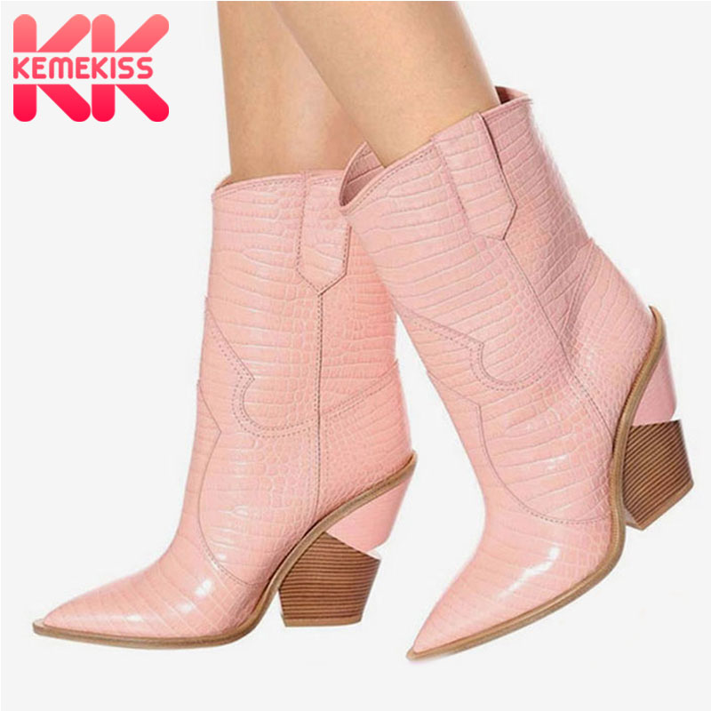 KemeKiss Size 33-46 New Women Ankle Boots Brand Autumn Winter High Heels Shoes Women Retro Short Boots Warm Footwear For Women