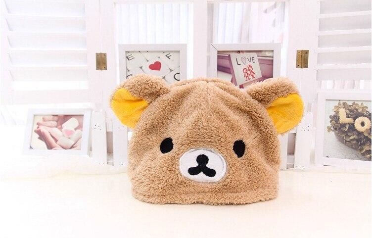 Winter Soft Cartoon Rilakkuma Bear Panda Plush Hat Women Ear Cap Fashion Christmas Gift