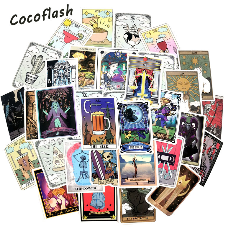 50pcs/Pack Divination Card Tarot Stickers Waterproof Motorcycle Skate Phone Guitar Laptop Motorcycle Suitcase Sticker Pegatinas