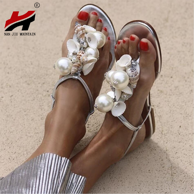 NAN JIU MOUNTAIN Summer Women's Flat Sandals Handmade Beads Large Pearls Shells Conch Non-Slip Women's Shoes Plus Size 35-43