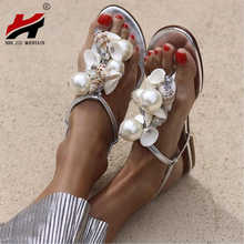NAN JIU MOUNTAIN Summer Womens Flat Sandals Handmade Beads Large Pearls Shells Conch Non-Slip Shoes Plus Size 35-43