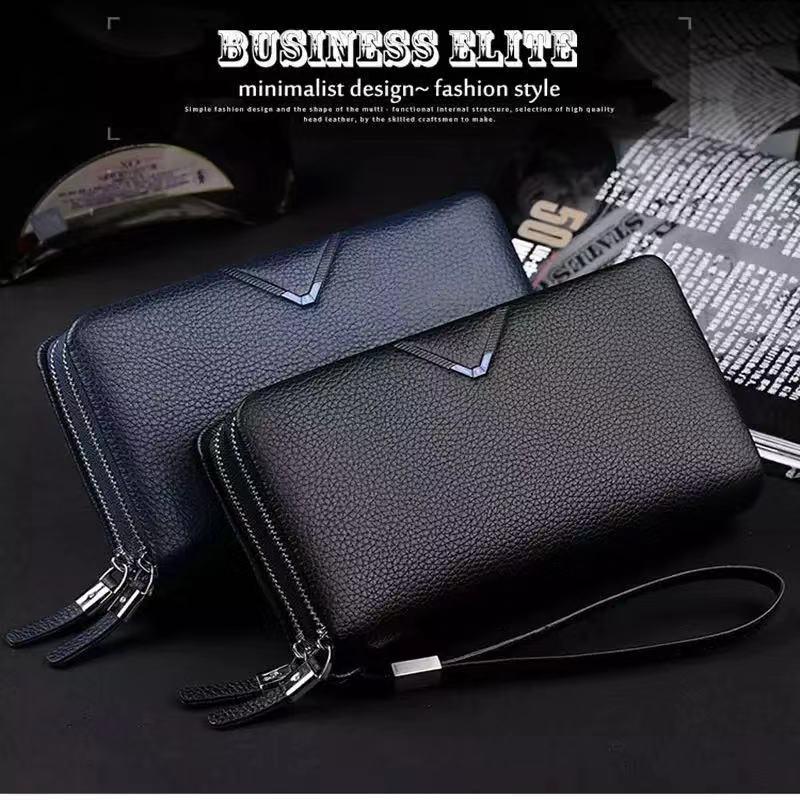 Men Clutch Bag Tote Handbag Purse Wallet Leather Bag Zipper Business Casual Gift