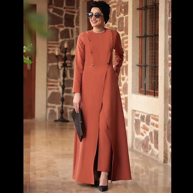 2020 Women Fashion Sets Muslim Suit Islamic Clothing Office Lady Long Sleeve Elegant Dress and Pants Turkish Dresses Arabic
