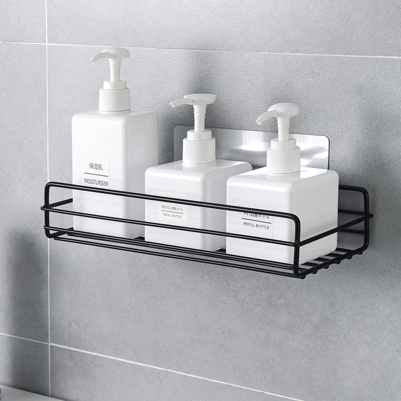 Japanese-style Wrought Iron Bathroom Shelf Wall-mounted Shower Gel Storage Rack Toilet Free Punch Toiletry Stand YHJ120605