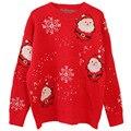 Rot/Balck Weihnachten Pullover Frauen Casual Lose Pullover Kint Pullover Pullover Frauen Schnee Pullover Übergroßen Pull Femme Tops
