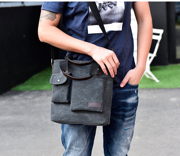 All-match Retro Style Men Briefcase Bag Leisure Outdoor Shoulder Bags Multifunctional Durable Cloth Bag Bolso Hombre DF340