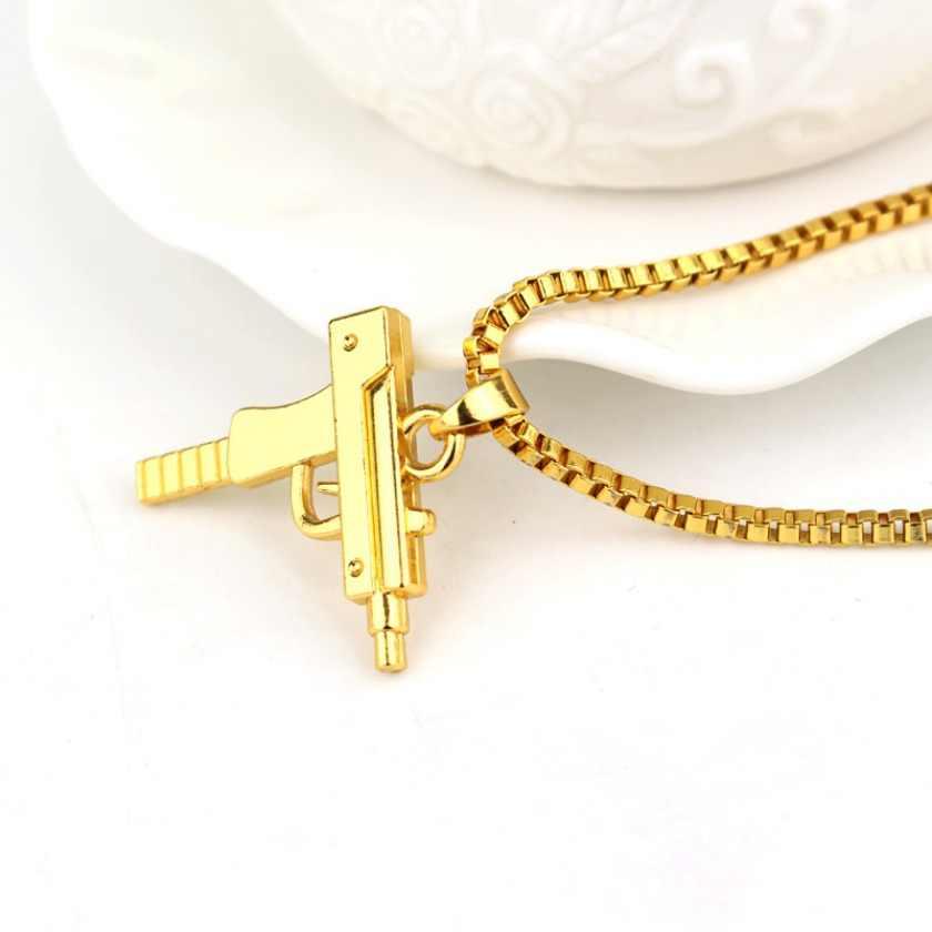 Nowy Uzi pistolet krzyż wisiorek naszyjniki długi kubański modny łańcuszek ogniwowy naszyjnik dla Unisex Hip Hop biżuteria