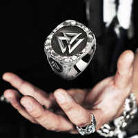 Valknut Viking rings for man Vintage stainless steel Punk ring fashion jewelry hippop mygrillz